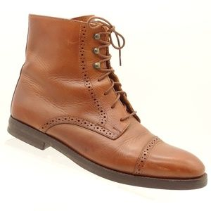 COLE HAAN Brown Leather Lace Up Ankle Boots